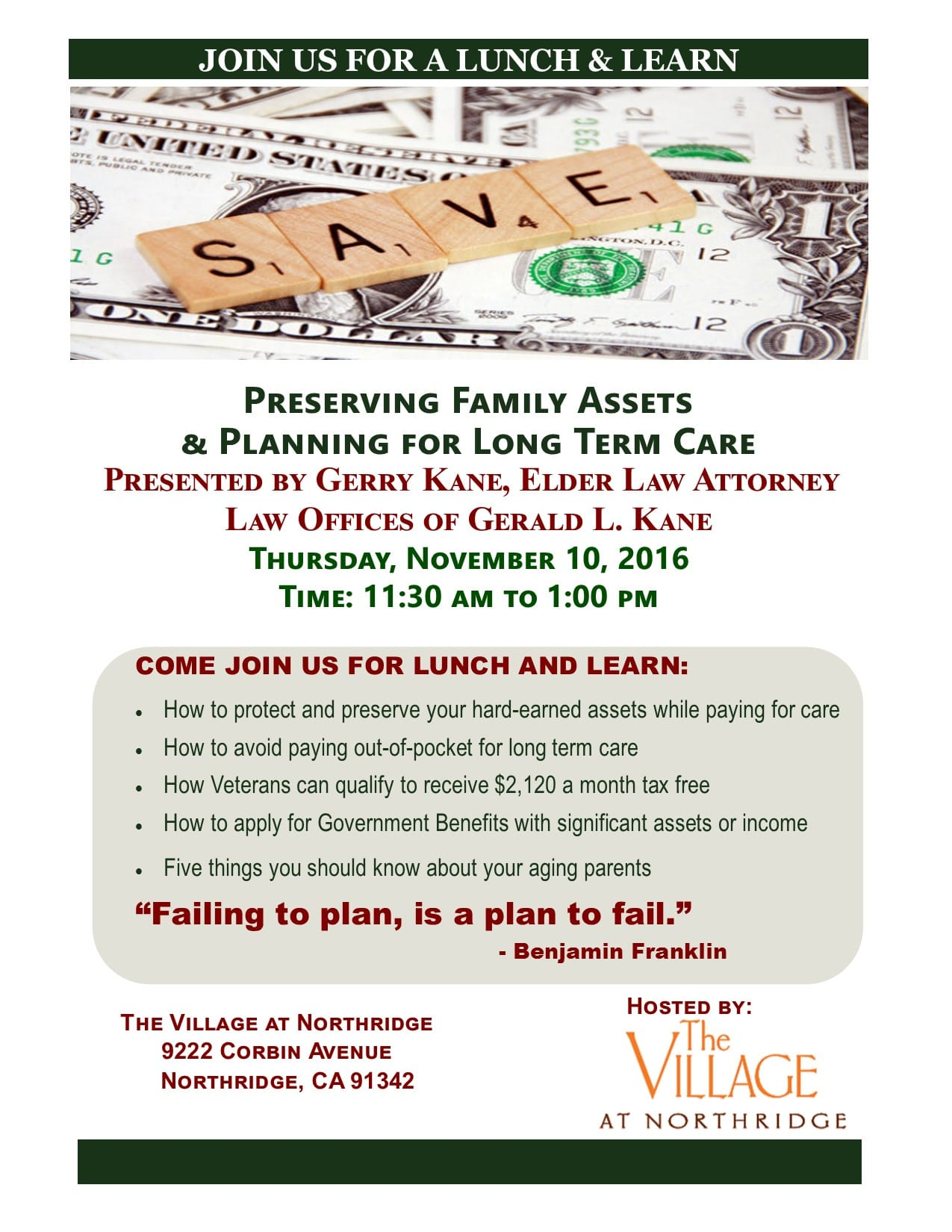 Village Northridge For Preserving family Assets & Planning For Long Term Care